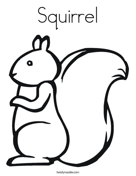 squirrel coloring page twisty noodle