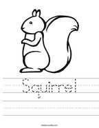 Squirrel Handwriting Sheet