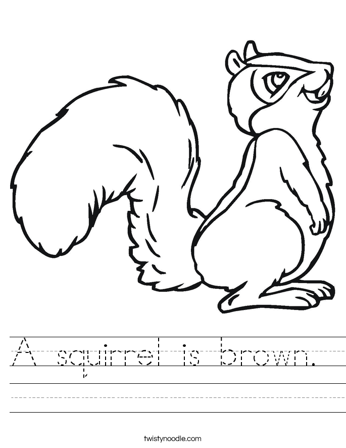 A squirrel is brown.  Worksheet
