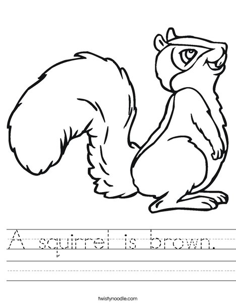 Squirrel with Bushy Tail Worksheet