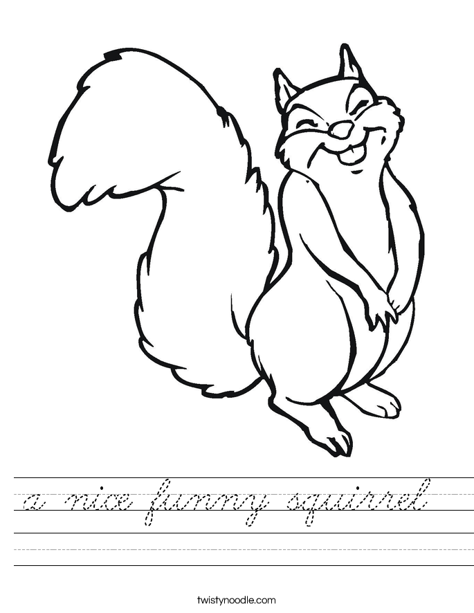 a nice funny squirrel  Worksheet