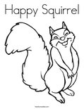 Happy Squirrel Coloring Page