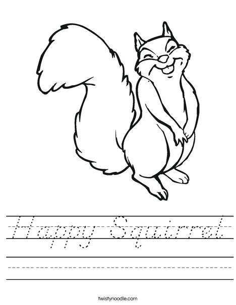 Happy Squirrel Worksheet