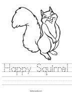 Happy Squirrel Handwriting Sheet