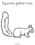 Squirrels gather nuts Coloring Page