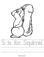 S is for Squirrel Handwriting Sheet