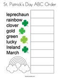 St Patrick's Day ABC Order Coloring Page