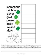 St Patrick's Day ABC Order Handwriting Sheet