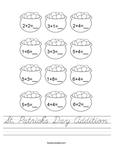 St. Patrick's Day Addition Worksheet