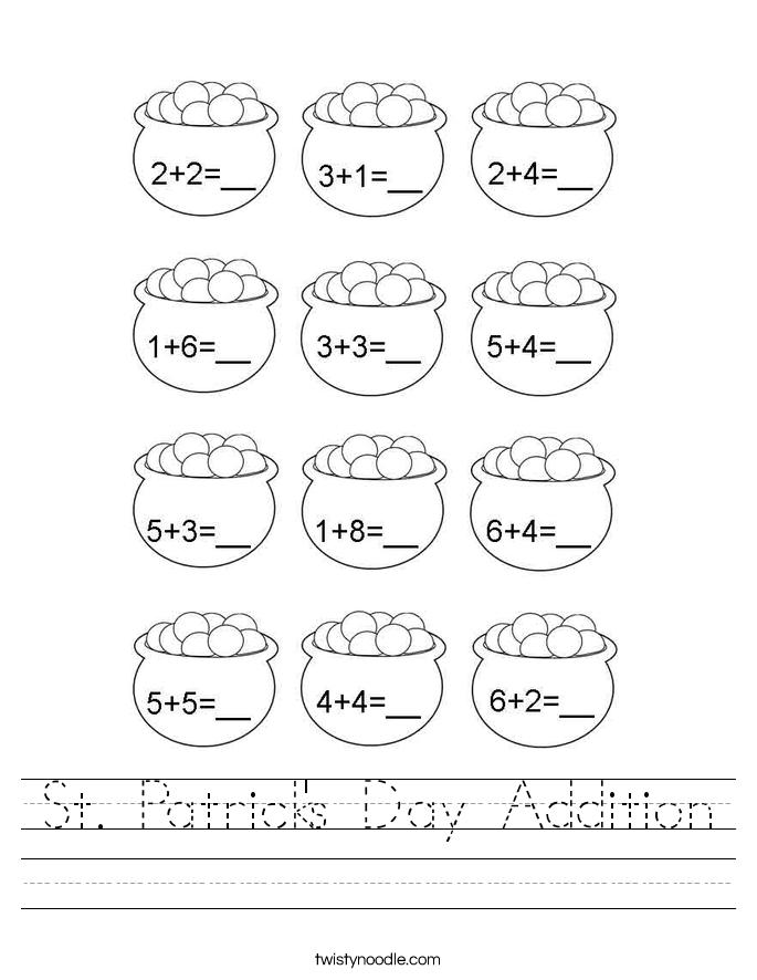 St. Patrick's Day Addition Worksheet