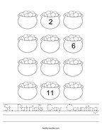 St Patrick's Day Counting Handwriting Sheet