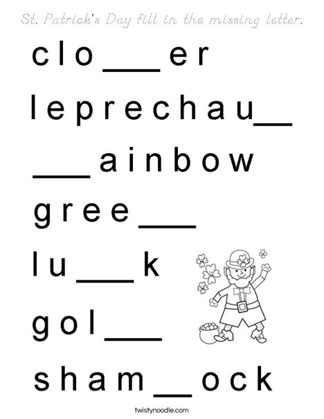 St Patrick's Day fill in the missing letter. Coloring Page