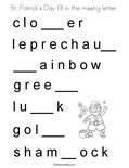 St. Patrick's Day fill in the missing letter. Coloring Page