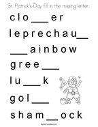St Patrick's Day fill in the missing letter Coloring Page