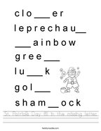 St Patrick's Day fill in the missing letter Handwriting Sheet