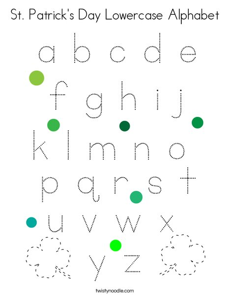 St. Patrick's Day Lowercase Alphabet Coloring Page