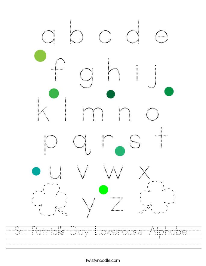 St. Patrick's Day Lowercase Alphabet Worksheet