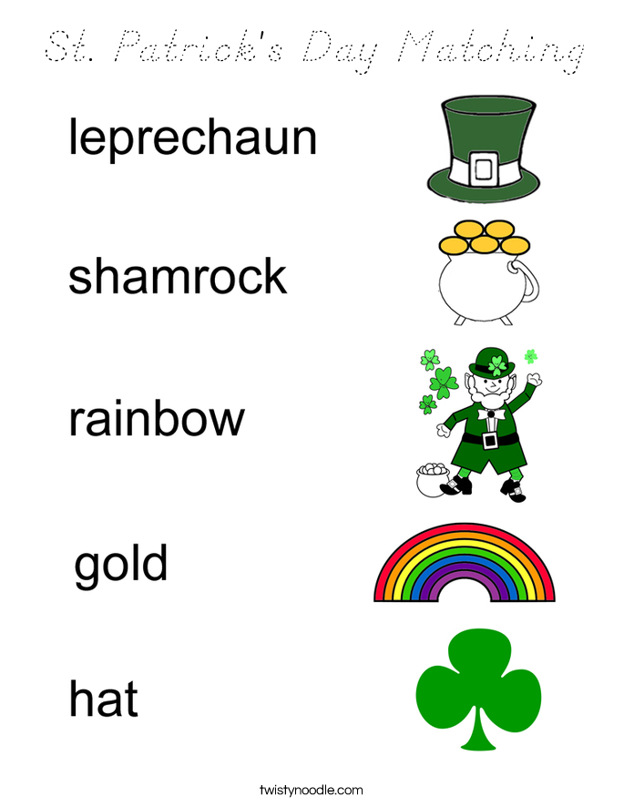 St. Patrick's Day Matching Coloring Page