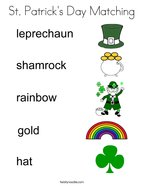 St Patrick's Day Matching Coloring Page