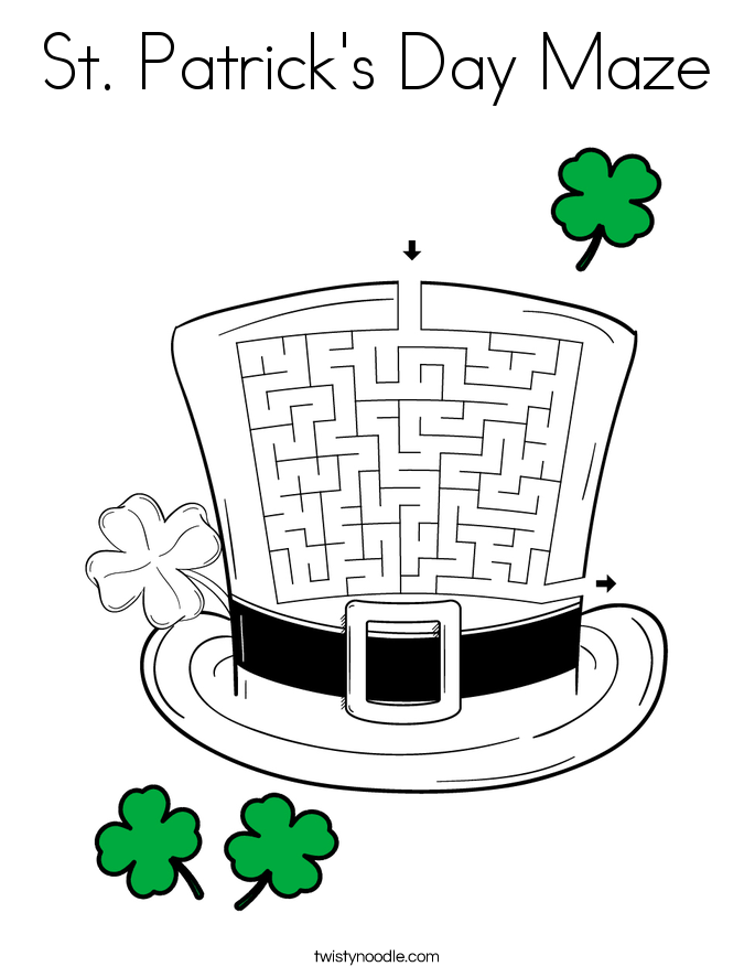 St. Patrick's Day Maze Coloring Page