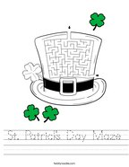St Patrick's Day Maze Handwriting Sheet