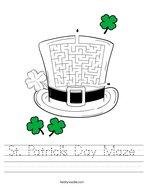 St Patrick's Day Maze Handwriting Sheet