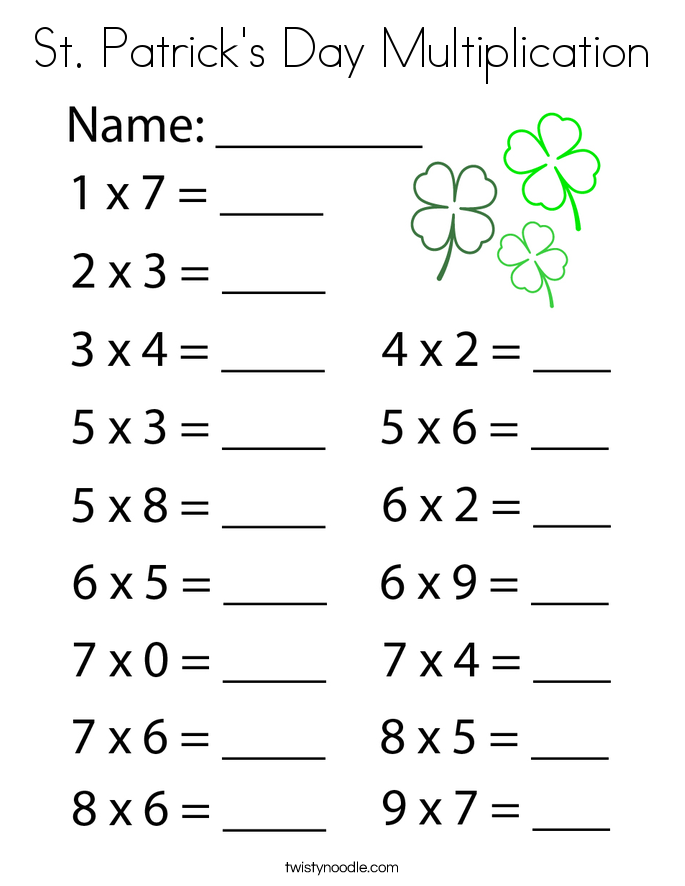 St. Patrick's Day Multiplication Coloring Page