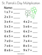 St Patrick's Day Multiplication Coloring Page