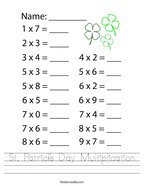 St Patrick's Day Multiplication Handwriting Sheet