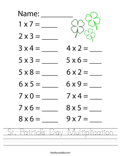 St. Patrick's Day Multiplication Worksheet
