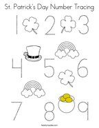 St Patrick's Day Number Tracing Coloring Page