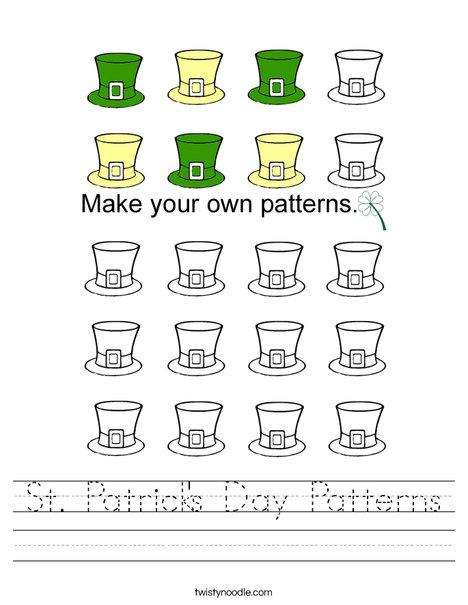 St. Patrick's Day Patterns Worksheet