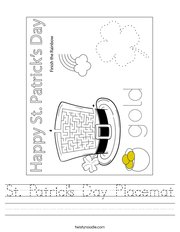 St Patrick's Day Placemat Handwriting Sheet