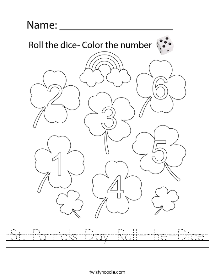 St. Patrick's Day Roll-the-Dice Worksheet
