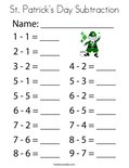 St. Patrick's Day Subtraction Coloring Page