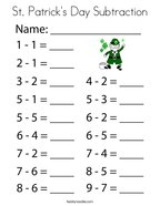 St Patrick's Day Subtraction Coloring Page