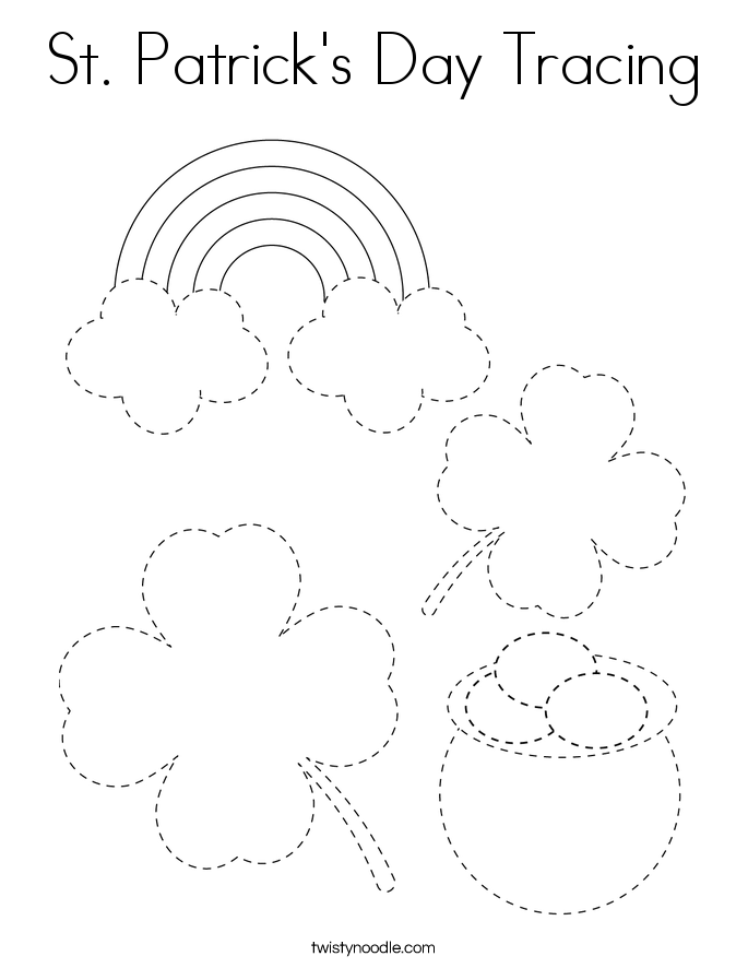 St. Patrick's Day Tracing Coloring Page