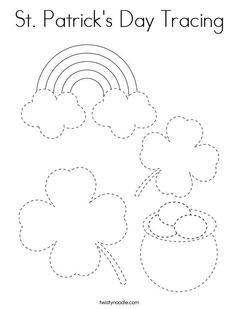 St Patrick's Day Tracing Coloring Page