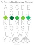 St. Patrick's Day Uppercase Alphabet Coloring Page