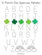 St Patrick's Day Uppercase Alphabet Coloring Page