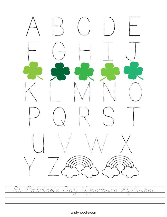 St. Patrick's Day Uppercase Alphabet Worksheet
