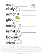 St Patrick's Day Word Scramble Handwriting Sheet