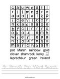 St. Patrick's Day Word Search Worksheet