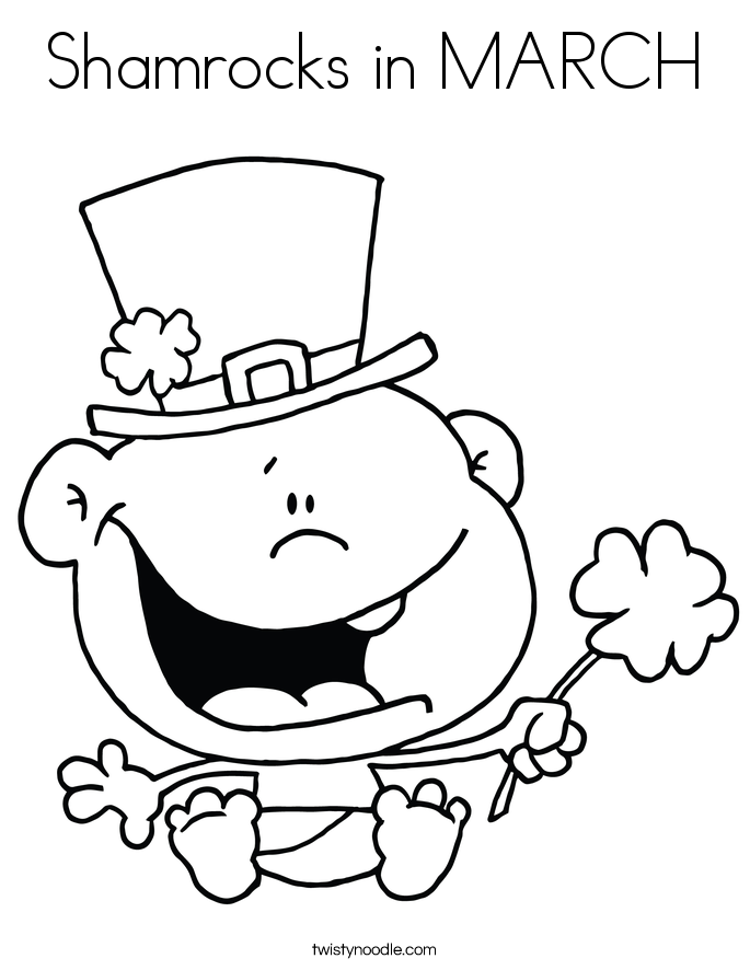 Shamrocks in MARCH Coloring Page