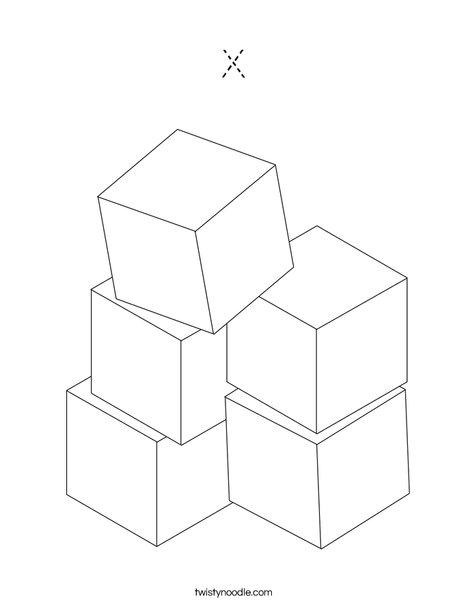 Stacked Blocks Coloring Page
