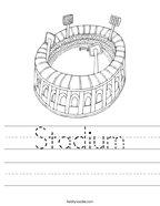 Stadium Handwriting Sheet