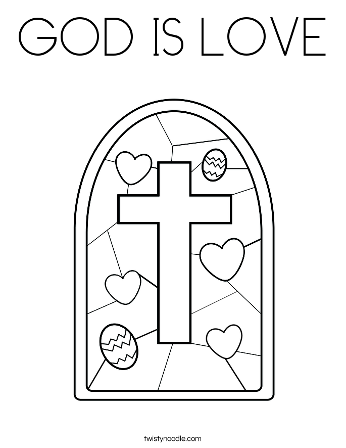 GOD IS LOVE Coloring Page Twisty Noodle
