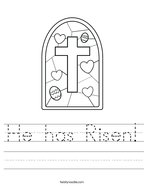 He has Risen Handwriting Sheet
