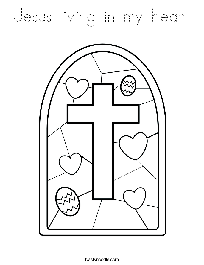 Jesus living in my heart Coloring Page