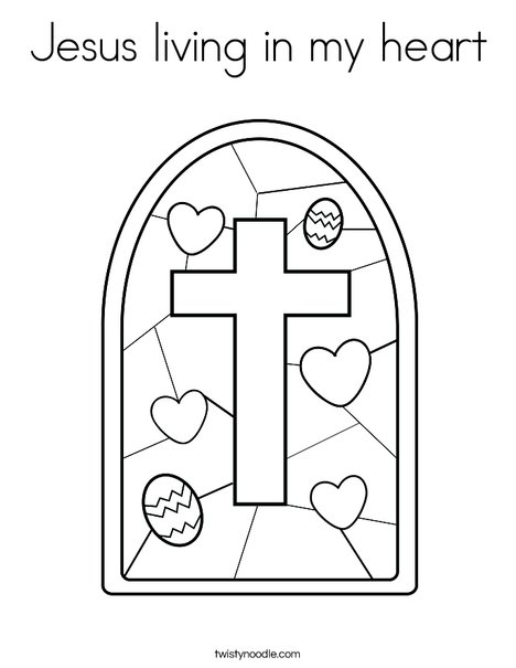 Jesus living in my heart Coloring Page - Twisty Noodle